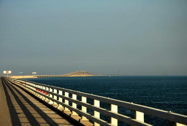 The Saudi causeway linking the island of Bahrain to Saudi Arabia.