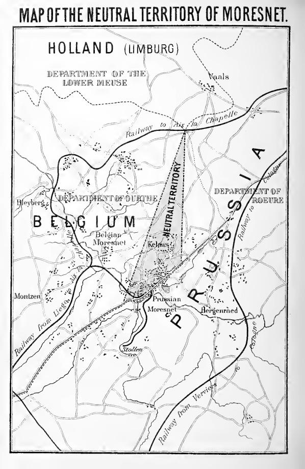 A map showing the location of Neutral Moresnet between Belgium, Prussia and Holland.