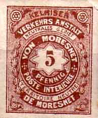 Neutral Moresnet stamp, German and French language.