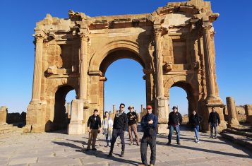 our group in front of the gate of Trajan