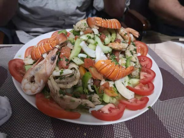 Seafood salad at NDB Ice Cafe in Nouadhibou