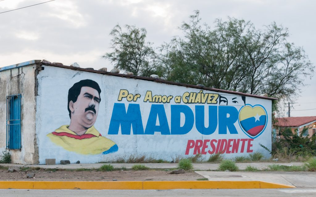 Mural of Maduro in Venezuela, which is not necessarily one of the socialist nations.