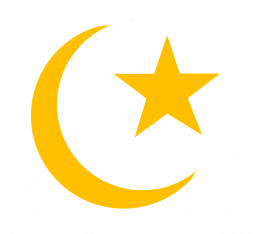 The moon crescent and star, symbol of Islam