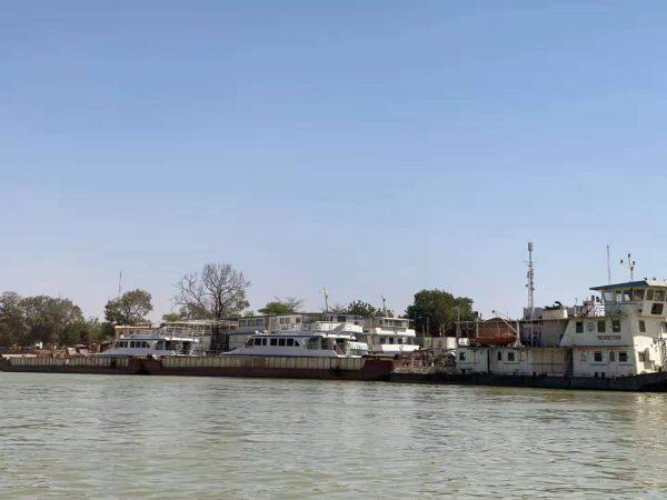 The big tourist boat taking people from Mopti to Timbuktu in Mali