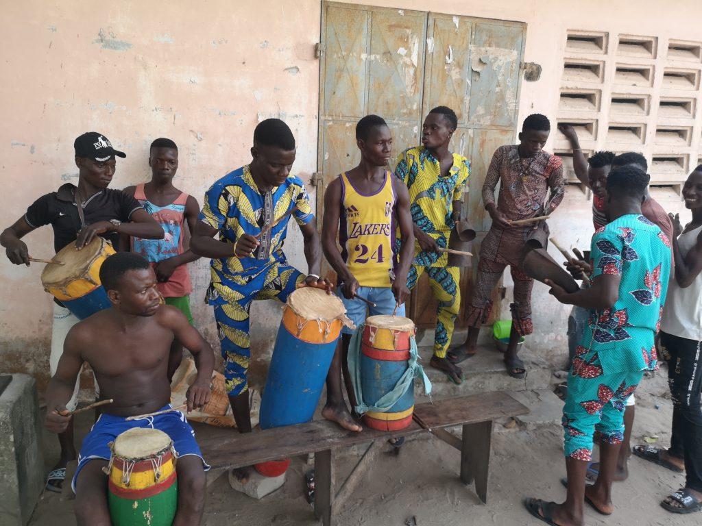 A music jam in a village near Ouidah in Benin