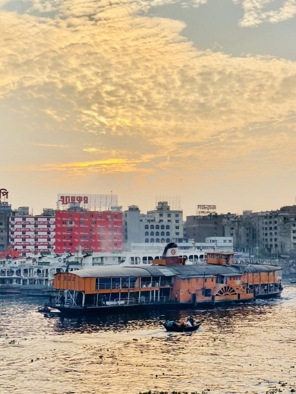 A paddle steamer leaving Dhaka, in Bangladesh