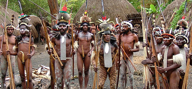 A west Papuan war party, seeing it is one of the best things to do in West Papua.