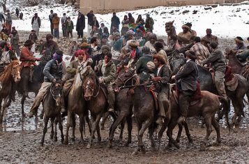 A game of Buzkashi, taking place in Afghanistan