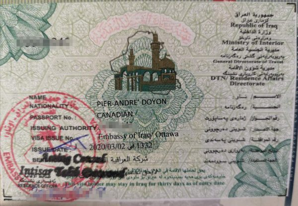 A visa for Iraq received at the embassy in Ottawa