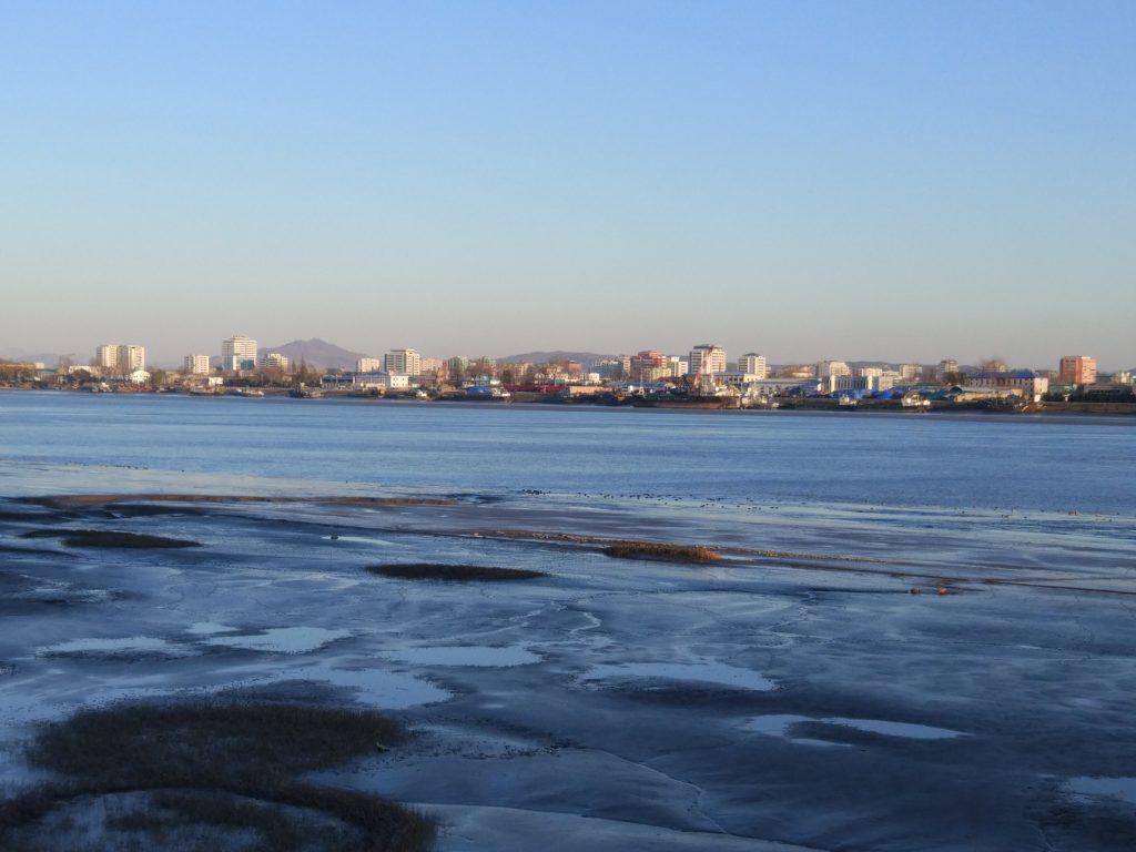 Sinuiju city seen from Dandong
