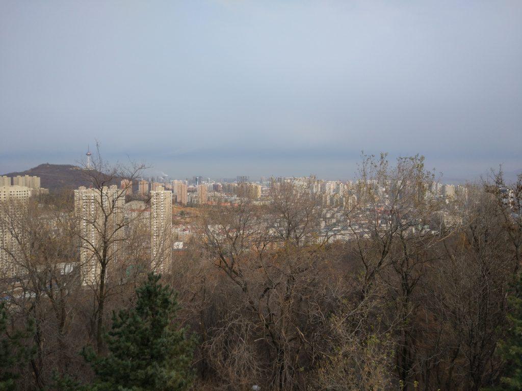 Views from Jinjiang mountain towards North Korea