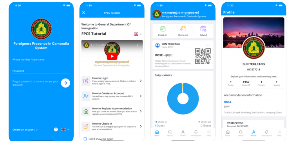 Screenshots of the FPCS immigration app of Cambodia