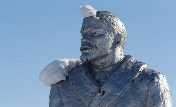 A frozen statue of Lenin, as seen during our Yakutia Tours