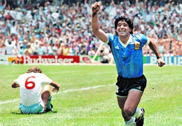 Diego Maradona playing against England