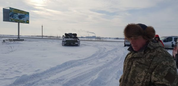 A tank being used for winter vehicle retrieval in Ukraine