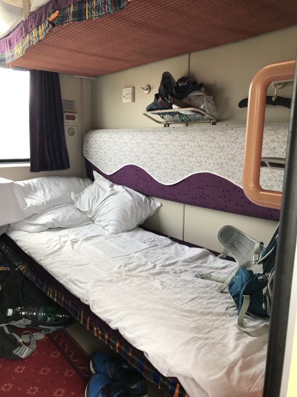 A bed berth on the train to Tibet