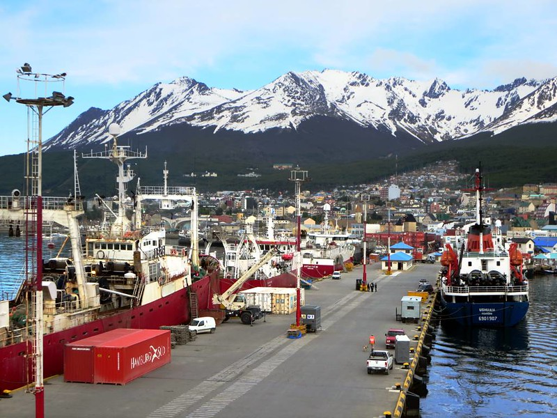 Boats moored in Ushuaia, the main reason why people ask how to go to Ushuaia