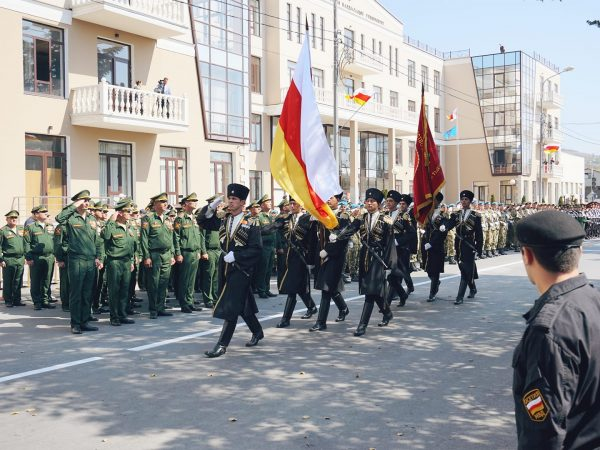 A military parade in Vladikavkaz, in North Ossetia a part of the South of Russia
