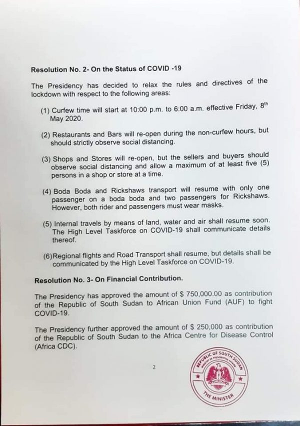 South Sudan covid measures
