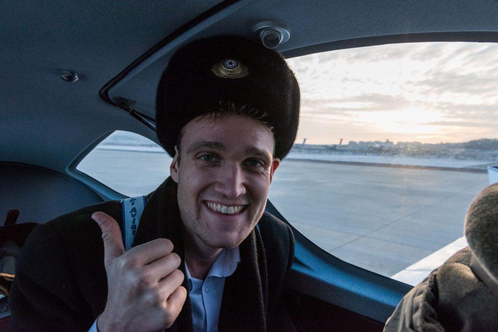 Rowan is boarding a domestic air koryo flight through North Korea