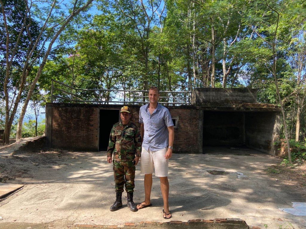 Soldier guarding the bunker of Pol Pot