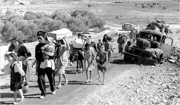 Palestinian refugees fleeing the 1948 war